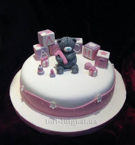 Мишка тедди с кубиками детские торты